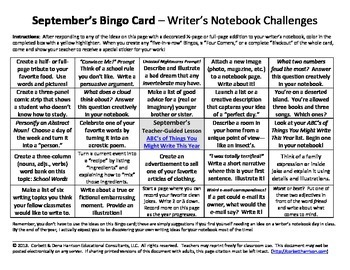 Writer's Notebook / Journal Bingo Cards