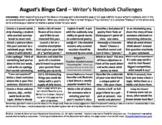 Writer's Notebook / Journal Bingo Cards