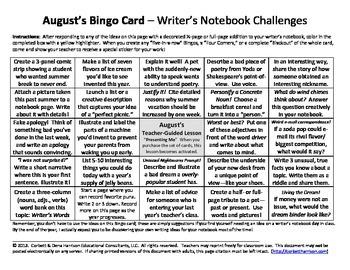 10 Writer's Notebook Bingo Cards
