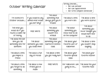 Monthly Writing Calendar