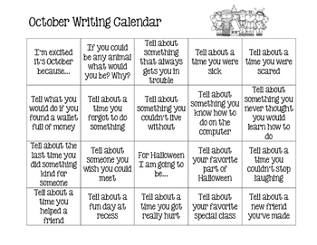 Monthly Writing Calendar