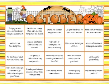 Monthly Writing Calendar - October