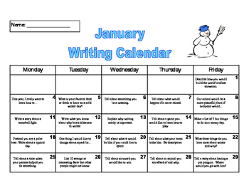 Monthly Writing Calendars