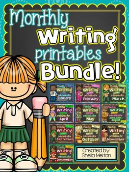 Monthly Writing Center NO PREP Printables BUNDLE