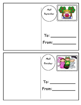 Monthly Writing Center Postcard Templates