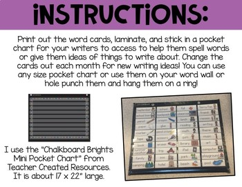 Monthly Writing Center Vocabulary or Idea Cards
