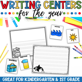 Writing Centers or writers workshop stations for Kindergarten. A years of writing centers and thematic monthly word wall vocabulary cards. Add some fun to your writing center with these Monthly themed word wall cards and writing papers.
