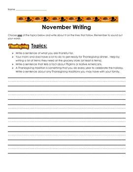 Monthly Writing Homework