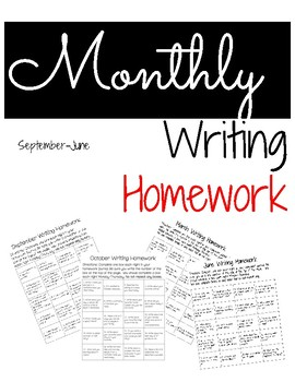 Monthly Writing Homework Calendars