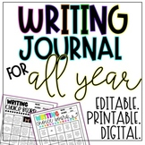 Monthly Writing Journal Choice Boards | EDITABLE. PRINTABL