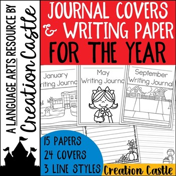 Monthly Writing Journal Covers and Themed Paper