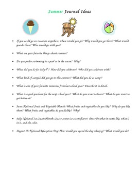 Monthly Writing Journal Prompts