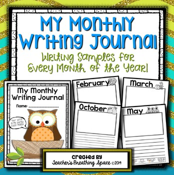 Monthly Writing Journal --- Writing Samples Through The Year
