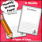 Writing Paper Monthly Themed for Memory Books or primary lined journals