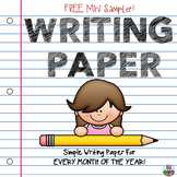 Monthly Writing Paper - Primary - Simple Seasonal Themes - FREE SAMPLER!