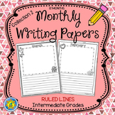 Monthly Writing Papers {Collection 2} RULED Lines - Journals - Writing Centers