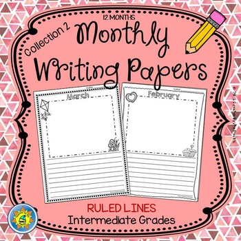 Monthly Writing Papers {Collection 2} RULED Lines - Journa