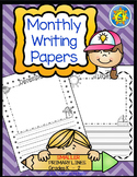 Monthly Writing Papers #1 - NARROWER PRIMARY Lines-Journals, Writing Centers
