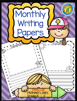 Monthly Writing Papers #1 - NARROWER PRIMARY Lines-Journal