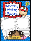 Monthly Writing Papers #1 PRIMARY Lines + DIGITAL Version for Distance Learning