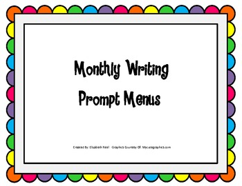 Monthly Writing Prompt Menus