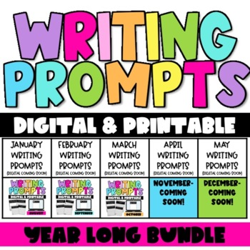 Monthly Printable Writing Prompts- The Year Long Bundle