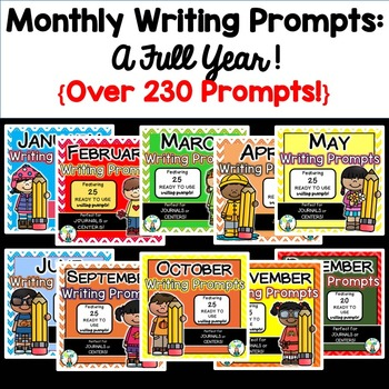 Monthly Writing Prompts FULL YEAR BUNDLE!