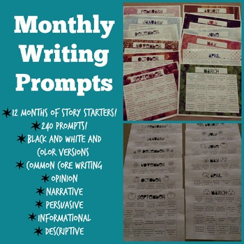 Monthly Writing Prompts Calendar for the Whole Year Writing Choice Boards
