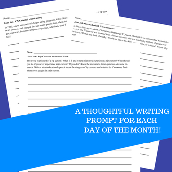 Monthly Writing Prompts Journal for 4th-8th Grades - June