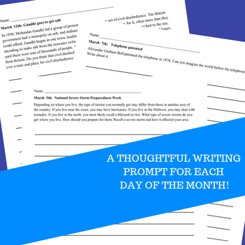 Monthly Writing Prompts Journal for 4th-8th Grades - March