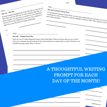 Monthly Writing Prompts Journal for 4th-8th Grades - May