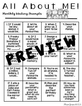 Monthly Writing Prompts - Themes FREEBIE