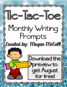 Monthly Writing Prompts--Tic-Tac-Toe