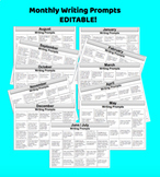 Monthly Writing Prompts for the Whole Year!  EDITABLE