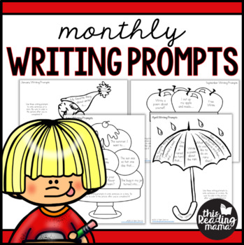 Monthly Writing Prompts that Kids Can Color