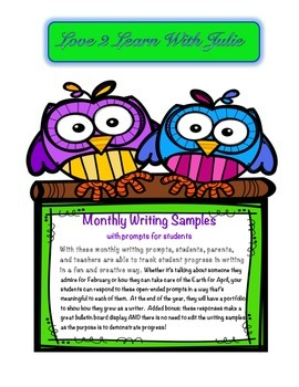 "Start The Year ""Write"" - Monthly Writing Samples with Prompts (Whole Year)"
