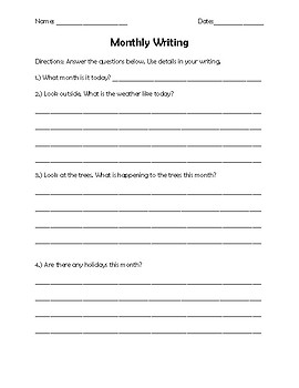 Monthly Writing Sheet