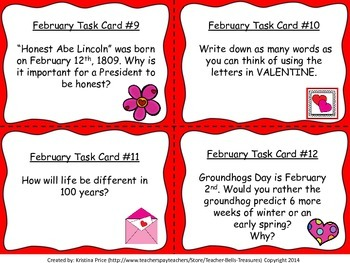 Monthly Writing Task Cards- February