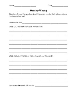 Monthly Writing and Handout