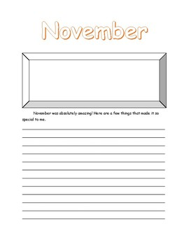 Monthly Writing for the School Year
