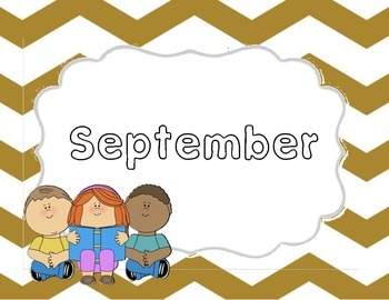 Monthly Gold Chevron Title Pages with Clip Art