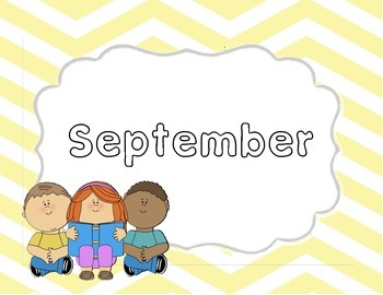 Monthly Yellow Chevron Title Pages with Clip Art