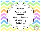 Monthly and Seasonal Preschool Menus