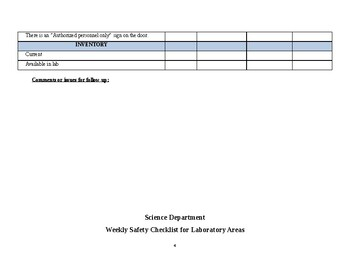 Monthly and Weekly Science Laboratory Inspection Form/Checklist
