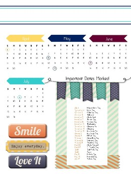 Monthly and Yearly Calendars for a Teacher Planner or Binder