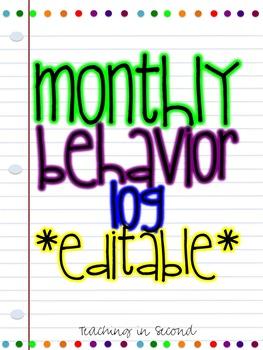 Monthly behavior log *editable*