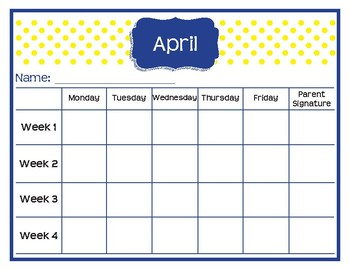 Monthly Behavior Tracking Sheets - Preppy Nautical theme