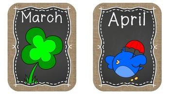 Monthly birthday display (chalkboard/burlap theme)!