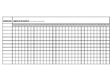 Monthly class register
