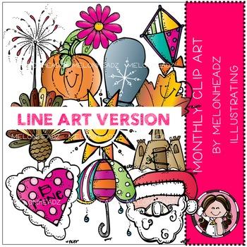Monthly clip art by Melonheadz LINE ART